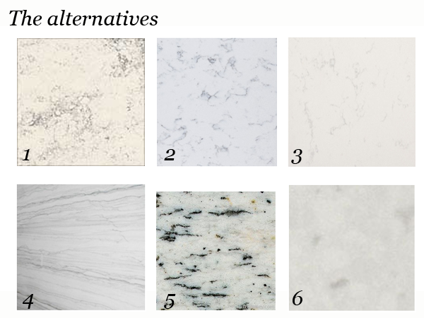 White Marble Counter : On the prowl alternatives to white marble countertops