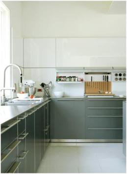 Roomology Loves Kitchens Where The Upper And Lower Cabinets Are Two - Gray lower cabinets