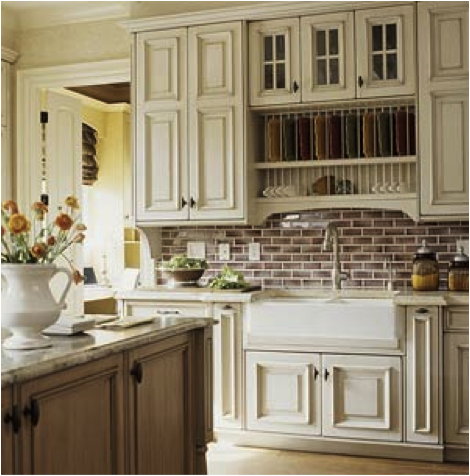 cream cabinets with white trim