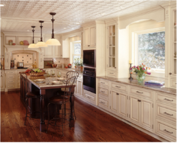 Cream cabinets with white trim roomology for Modern victorian kitchen design