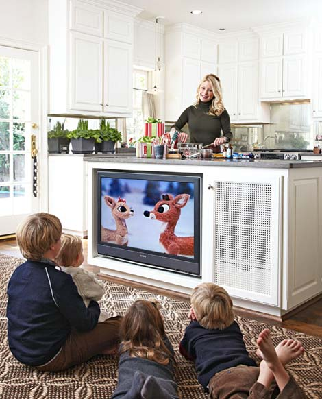 Traditional Home TV in Kitchen Island