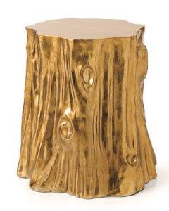 Gold tree stump table