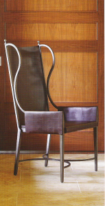 global views iron and leather wing chair