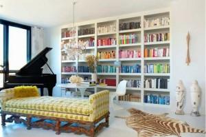 Music room with rainbow bookshelf