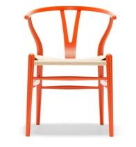 orange lacquer wishbone chair