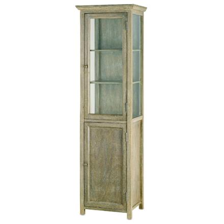 Beautiful distressed wood cabinet is half storage, half display. $1312 from  Candelabra Home. - Great Tall Narrow Storage Pieces Roomology